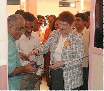 District Governor Marlene Brown and D-3200's District Rotary Foundation Chair, Rtn. Shenoy, at the inauguaration of the new computer room at Adarsh Special School in Cochin, India
